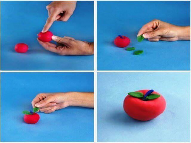 Процесс лепки яблока